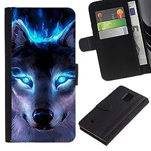 LASTONE PHONE CASE / Lujo Billetera de Cuero Caso del tirón Titular de la tarjeta Flip Carcasa Funda para Samsung Galaxy Note 4 SM-N910 / Wolf Blue Eyes Neon Bright Light Forest