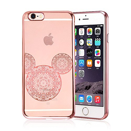 iPhone 6 / 6S, Rose Gold Shiny Mouse Inspired Mandala Zen Tangle Cartoon Pattern Rubber Slim Fit Silicone TPU Case Cover for Apple