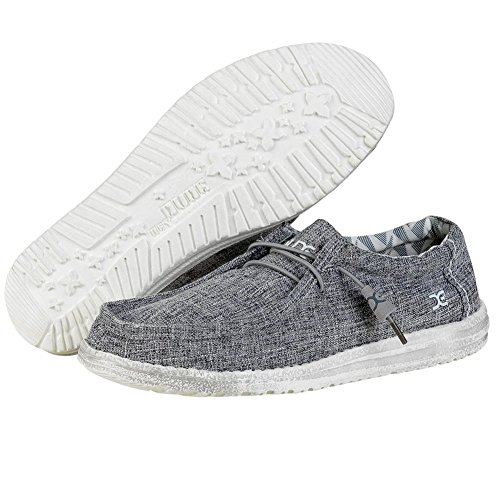 Hey Dude Men's Wally Linen Loafers, Iron, Linen, Canvas, Textile, Memory Foam, 7 US M / EU 40