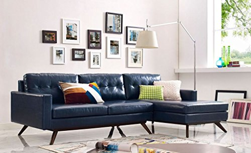TOV Furniture The Blake Collection Contemporary Living Room Antique Eco-Leather Upholstered RAF Sectional, Blue (Raf Chaise Sectional)