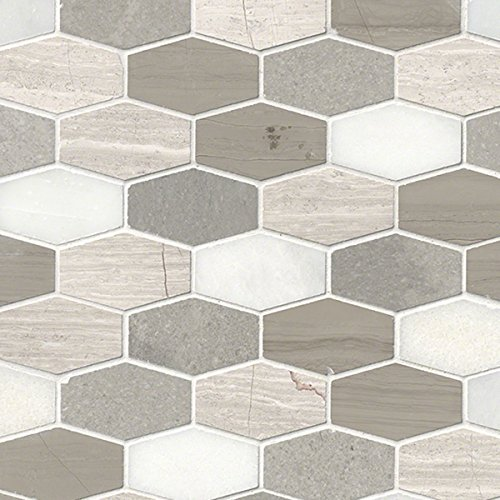 MS International SMOT-BELBLND-HEXEL10MM Bellagio Blend Elongated Hexagon Honed Mosaic Tiles