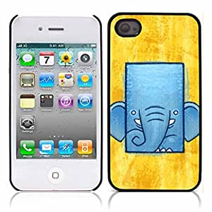 Elephant Cute Hard Plastic and Aluminum Back Case for Apple iphone 4 4S