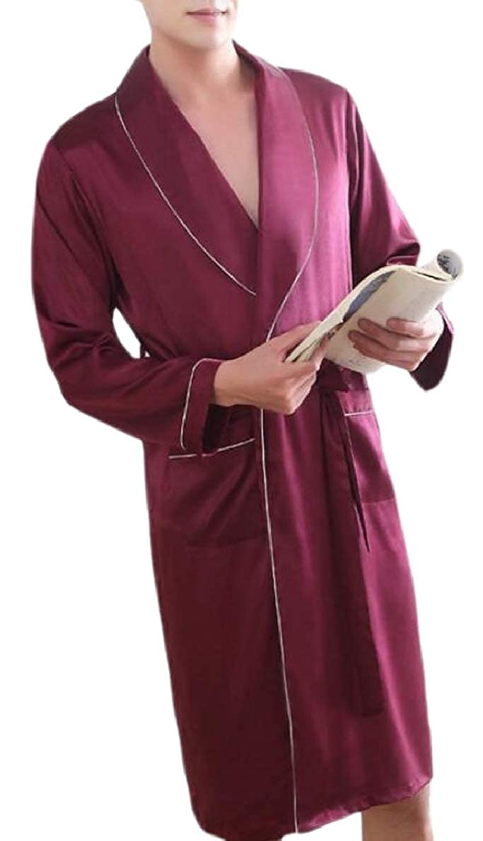 FLCH+YIGE Mens Home Wear Stain Belted Robe Cozy Long-Sleeves Lounge Robe