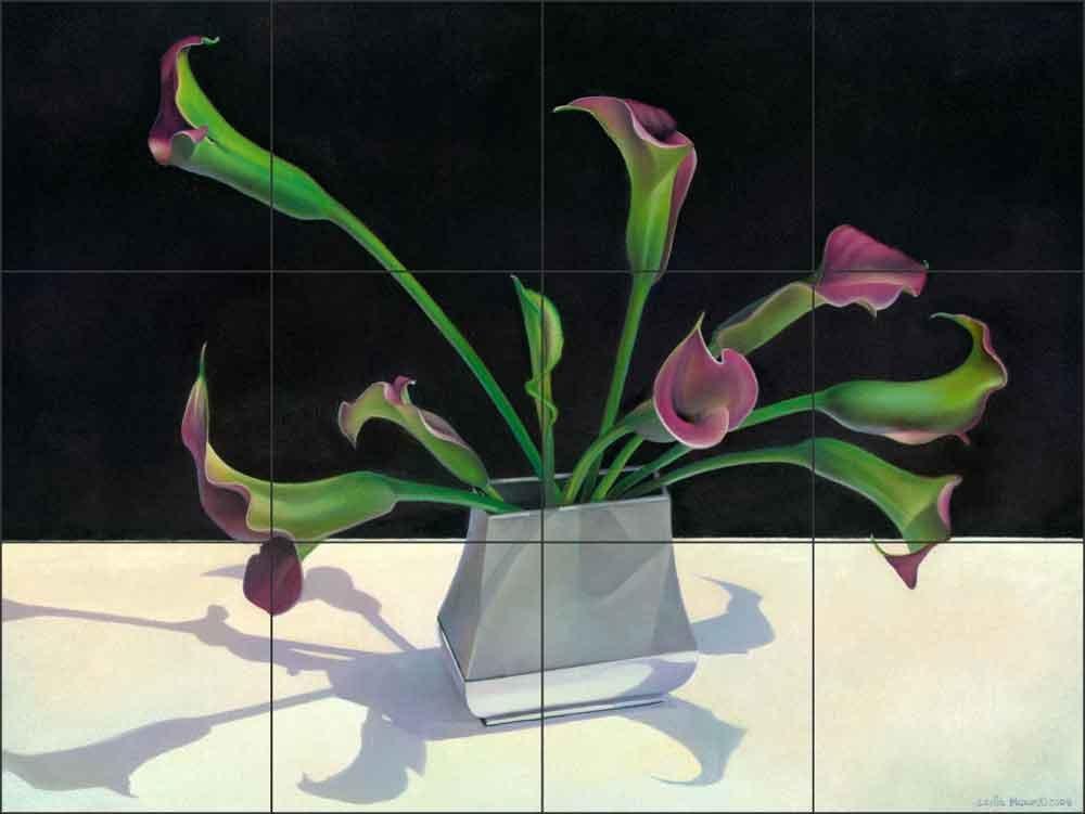 Artwork On Tile Ceramic Mural Backsplash Sunlit Callas 1 by Leslie Macon - Kitchen Shower Wall (24'' x 18'' - 6'' tiles)