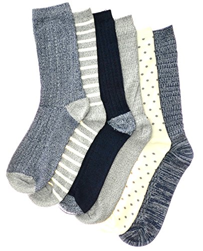 Cuddl Duds Women's 6PK supersoft crew socks (Blue), One Size - (4-10) -
