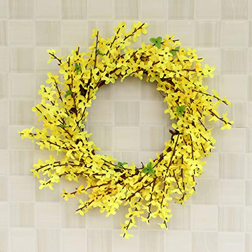 Maikouhai Artificial Flower Wreath, Simulation Flower Leaf Wreath Wall Window Door Hanging Home Office Decor Wedding Graduation Engagement Festival Celebrations - 11.81x11.81x1.96 Inch