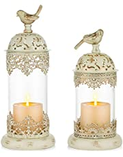 Nuptio 2 Pcs Vintage Pillar Candle Holders Moroccan Wrought Iron Hurricane Candle Holder Ornate Centerpiece for Mantlepiece Decorations, Candlestick Holders for Table Living Room Balcony Garden