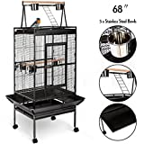 Angelwing 68'' Bird Cage Large Play Top Parrot Finch Cage Macaw Cockatoo Pet Supplies