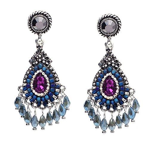 ZRDMN Jewelry Earrings Water Drop Pendant Stud Earrings for Womens Trend personality hollow teardrop-shaped alloy diamond pendant earrings ()