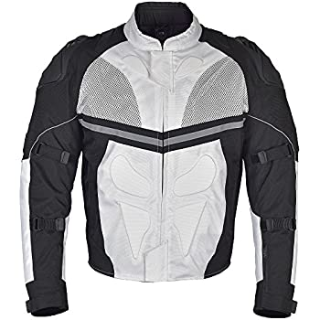 Men Motorcycle Textile Multi Season Jacket White Black MBJ068-M