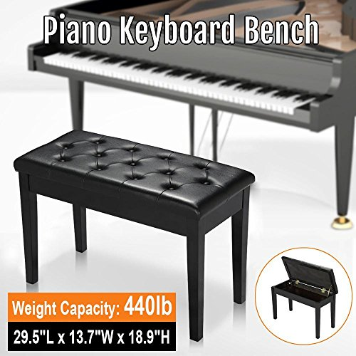 go2buy Piano Bench Keyboard Bench Padded Seat Book Storage Black PU Leather Weight Capacity 440lb by go2buy