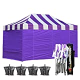 ABCCANOPY Carnival Purple 10 X 15 Ez Pop up Canopy Tent Commercial Instant Gazebos with 6 Removable Purple Sidewalls and Roller Bag and 4X Weight Bag For Sale
