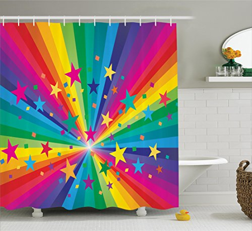 Ambesonne Abstract Home Decor Collection, Rainbow and Stars Confetti Rays Striped Celebrating Happy Times Image, Polyester Fabric Bathroom Shower Curtain Set with Hooks, Red Yellow Blue Pink