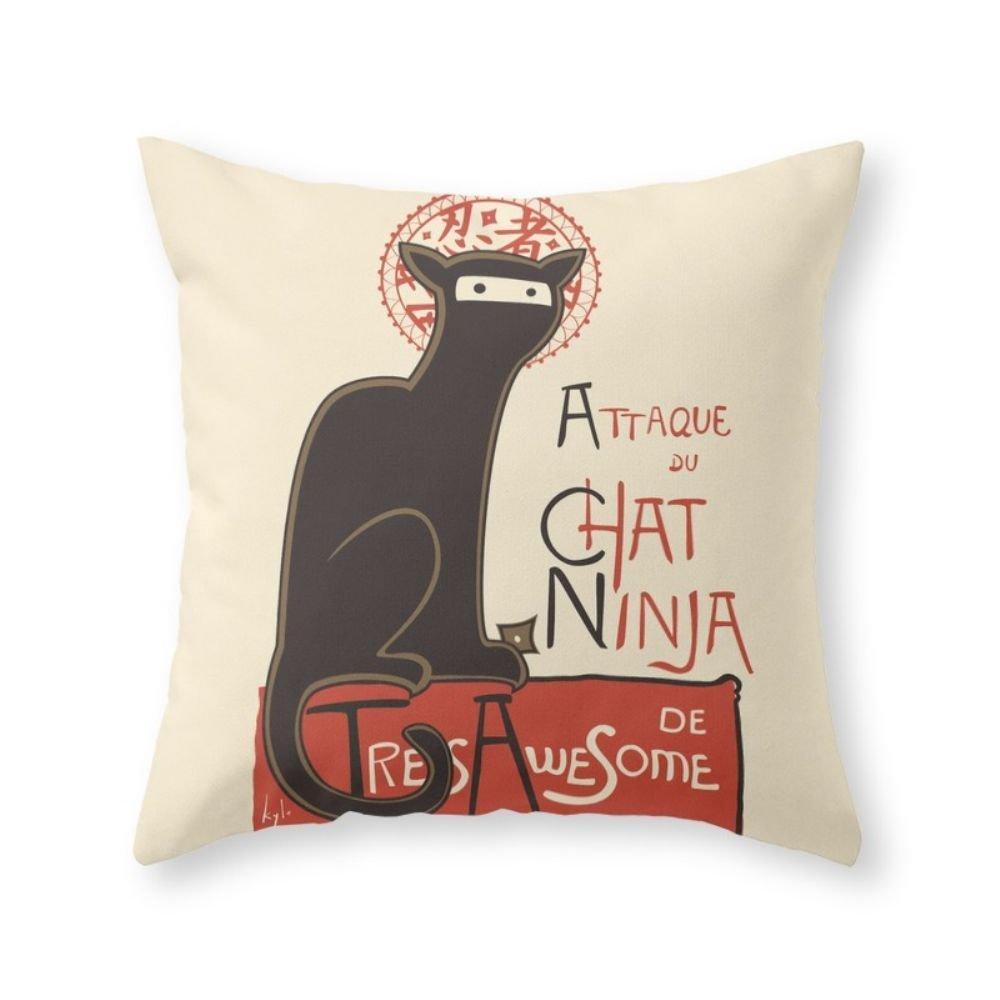 Society6 un francés Ninja Cat (Le Chat Ninja) manta almohada ...
