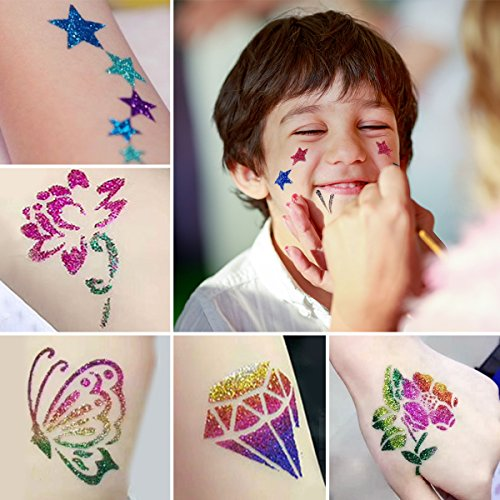 Skymore Glitter Tattoo Kit,Temporary Tattoos Face painting Make Up Body Glitter Body Art Design For Kids Teenager Adult,Halloween,With 24 Colour Glitter,108 Sheet Uniquely Themed Tattoo Stencil by SKYMORE (Image #3)