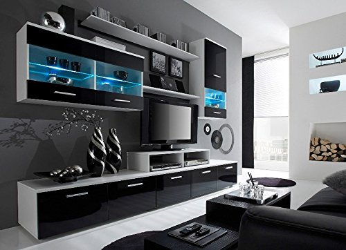 Paris Contemporary Design Wall Unit / Modern Entertainment Center / Unique Modern Design / with LED Lights / High Storage Capacity / Living Room Furniture / Tv Stand (Black & White) (Furniture Wall Entertainment)