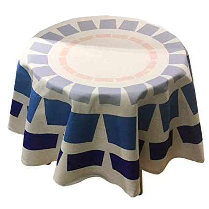 Small Round Table Cloths.Amazon Com Mago Cotton Thief Color Scale Round Tablecloth Blue