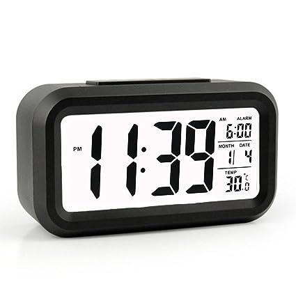 Reloj despertador, despertador digital con fecha y temperatura de visualización - Snooze y gran pantalla - Smart noche luz (luz de fondo blanco) - ...