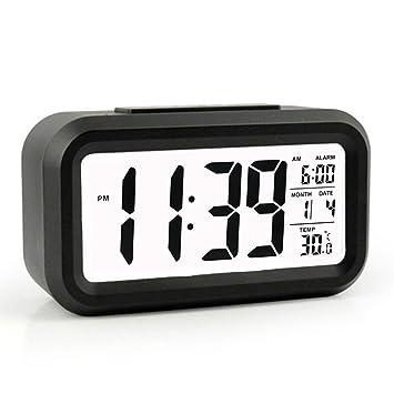 Reloj despertador, despertador digital con fecha y temperatura de visualización - Snooze y gran pantalla - Smart noche ...