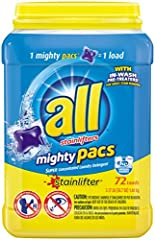 Get a powerful clean with mighty results in one convenient pac per load. Each little pac delivers concentrated cleaning power with In-Wash Pre-Treaters for great stain removal. Leave your clothes smelling clean with a fresh scent. These Might...