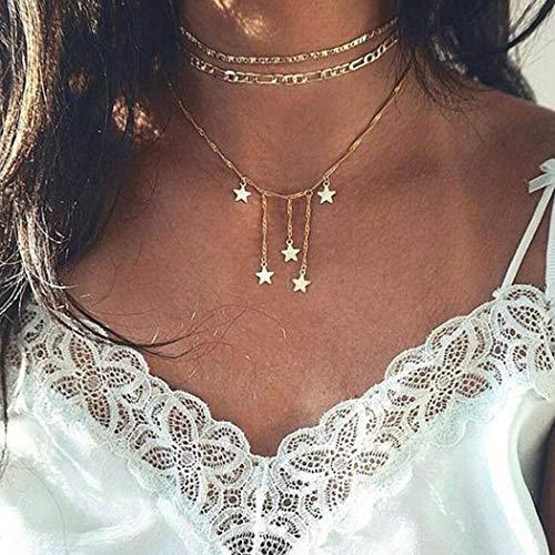 (Fstrend Boho Layered Necklace Dainty Star Tassel Choker Pendant Sandbeach Necklaces Jewelry for Women and)
