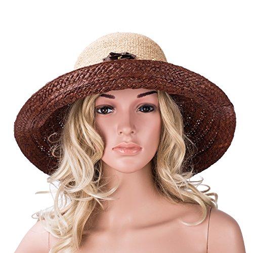 Womens Bordo Bordo Cappello Lawliet Rafia In Marrone Del Mano A Vestono Larghi A348 Spiaggia rxrqST7Yw