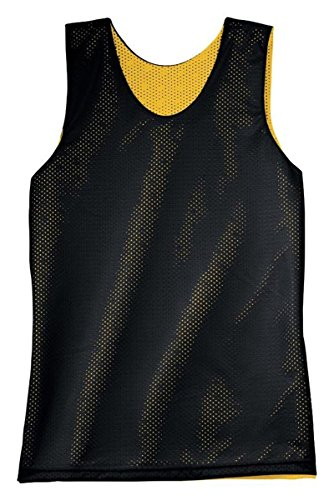 Black Reversible Sleeveless Shirt (A4 Mens Reversible Mesh Tank Top NF1270 -BLACK/ GOLD 2XL)