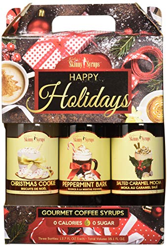 Holiday Syrup - Jordan's Skinny Syrups Happy Holidays Gourmet Coffee Syrup Trio: Peppermint Bark, Christmas Cookie, Salted Caramel Mocha (One bottle of each flavor, 12.7 Oz Each)
