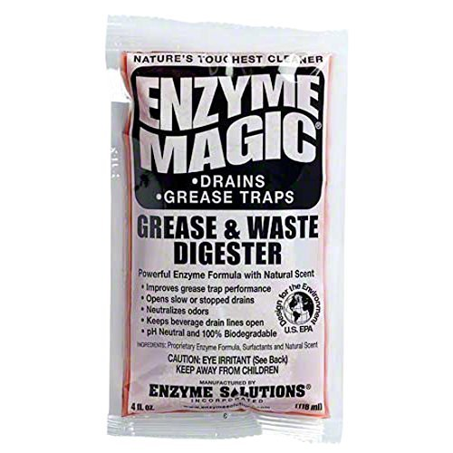 Enzyme Magic Grease & Waste Digester 32-pack (4oz) Strong Enzyme pH Neutral Biodegradable Open Slow/Stopped Drain Neutralize Odor Works for Kitchen Toilet Camper Septic Tanks Grease Trap Soda Line