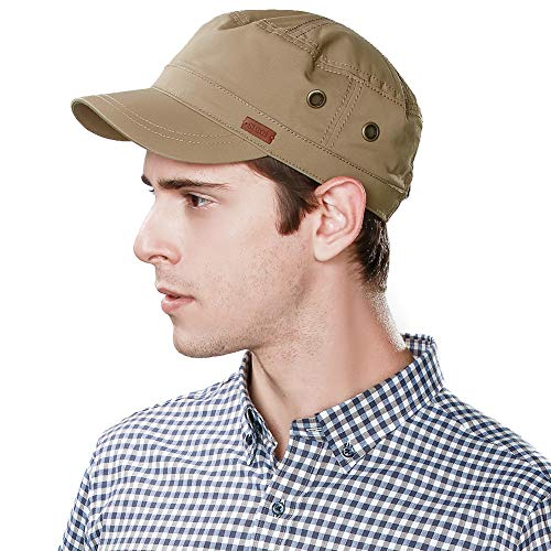 Fancet Mens Cotton Army Cap Military Size 8 Hat Women Large Head Baseball Cadet Jersey Khaki XXL -