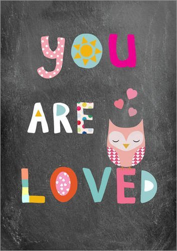 Posterlounge Forex 90 x 130 cm: You Are Loved Owl di GreenNest