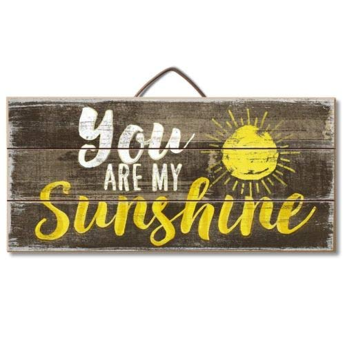 Hanging Slat Sunshine (Rcow décor You are My Sunshine Primitive Wood Hanging Sign 6'', x 12'',)