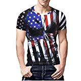 NUWFOR Personality Mens 3D Print Casual Slim Short-Sleeved Shirt Top Blouse(230,L US/XL AS Bust:42.1''