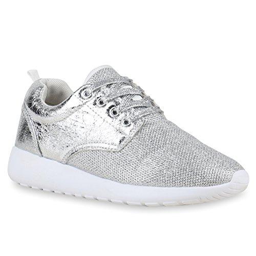 Stiefelparadies Damen Sportschuhe Muster Laufschuhe Runners Sneakers Schuhe Strass Metallic Flandell Silber Glanz