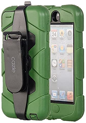 iPod Touch, Extreme Protection Heavy Duty Hybrid Dual Layer Belt Clip Holster Case with Kickstand for Apple iPod Touch 6th Gen 5th Gen by Cazle (Olive (Ipod 5th Generation With Holster)