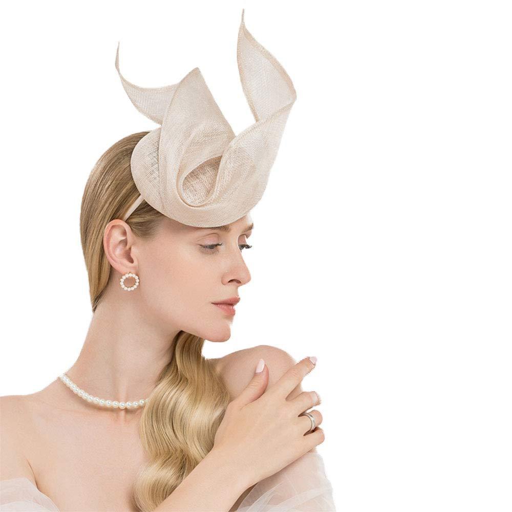 FADVES Elegant Sinamay Fascinators Wedding Evening Party Feast Derby Headwear Beige