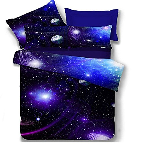 Galaxy 3D Bedding Sets Full Size for Teen Kids,Polyester Duvet Cover Sets with Sheets 4 Pieces,1 Duvet Cover Sets,1 Flat Sheet, 2 Pillow Cacses, No Comforter (Galaxy F, Full)