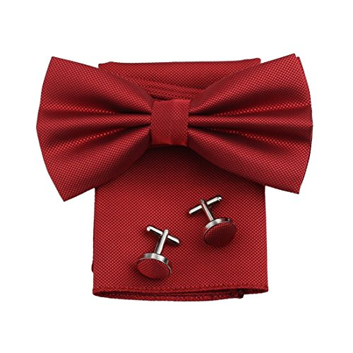 DBC3012 Dark Red Checkered Poly Pre-Tied Bowties In Bulking Hanky Cufflinks Set by Dan Smith (Red Bow Tie)