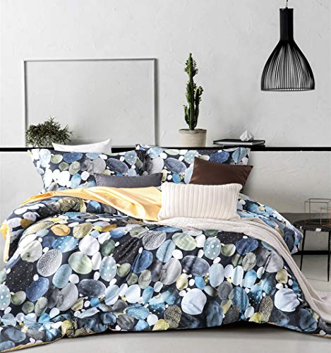 MILDLY Bedding Duvet Cover Sets Queen Size, 100% Egyptian Cotton Duvet Cover with Zipper Closure and 2 Pillow Shams, Colourful Natural Pebble Stone Pattern Printed,Keller