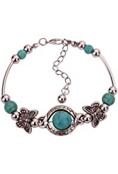 Yazilind Rimous Green Bead Inlay Butterfly Bangle Alloy Bracelet For Women Gift