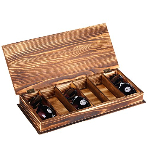 6 Slot Rustic Style Torched Wood Sunglasses Eyewear Storage Case - Multiple Holder Eyeglass Case