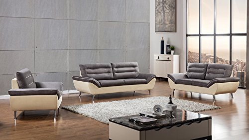 - American Eagle Furniture 3 Piece Dorsey Collection Complete Fabric Living Room Sofa Set, Gray/Beige