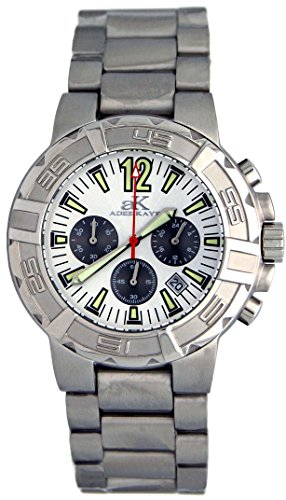 Adee Kaye #AK4025-M Men's Abyss 2000 Stainless Steel Silver Dial Chronograph Watch (Watch Kaye Chronograph Mens Steel)