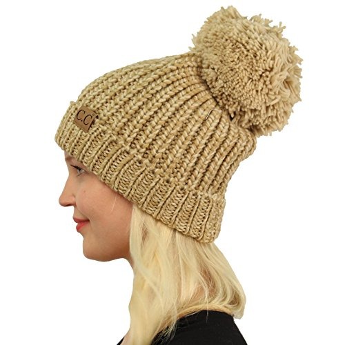 (CC 2tone Mix Big Pom Pom Warm Thick Chunky Soft Stretchy Knit Beanie Hat Beige)