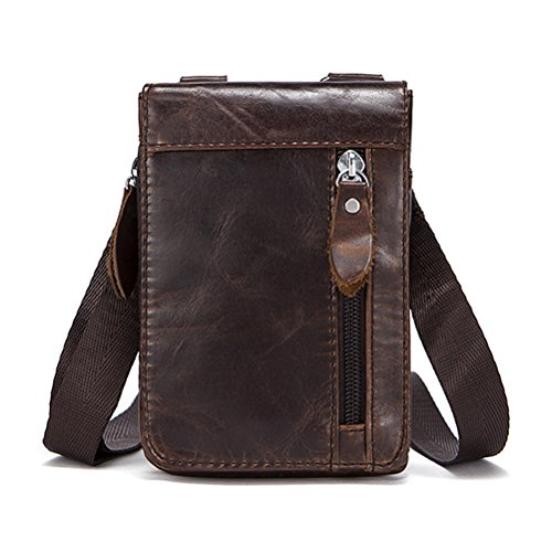 ather Fanny Bag Belt Money Cellphone Pouch for Men Boys (Coffee) ()