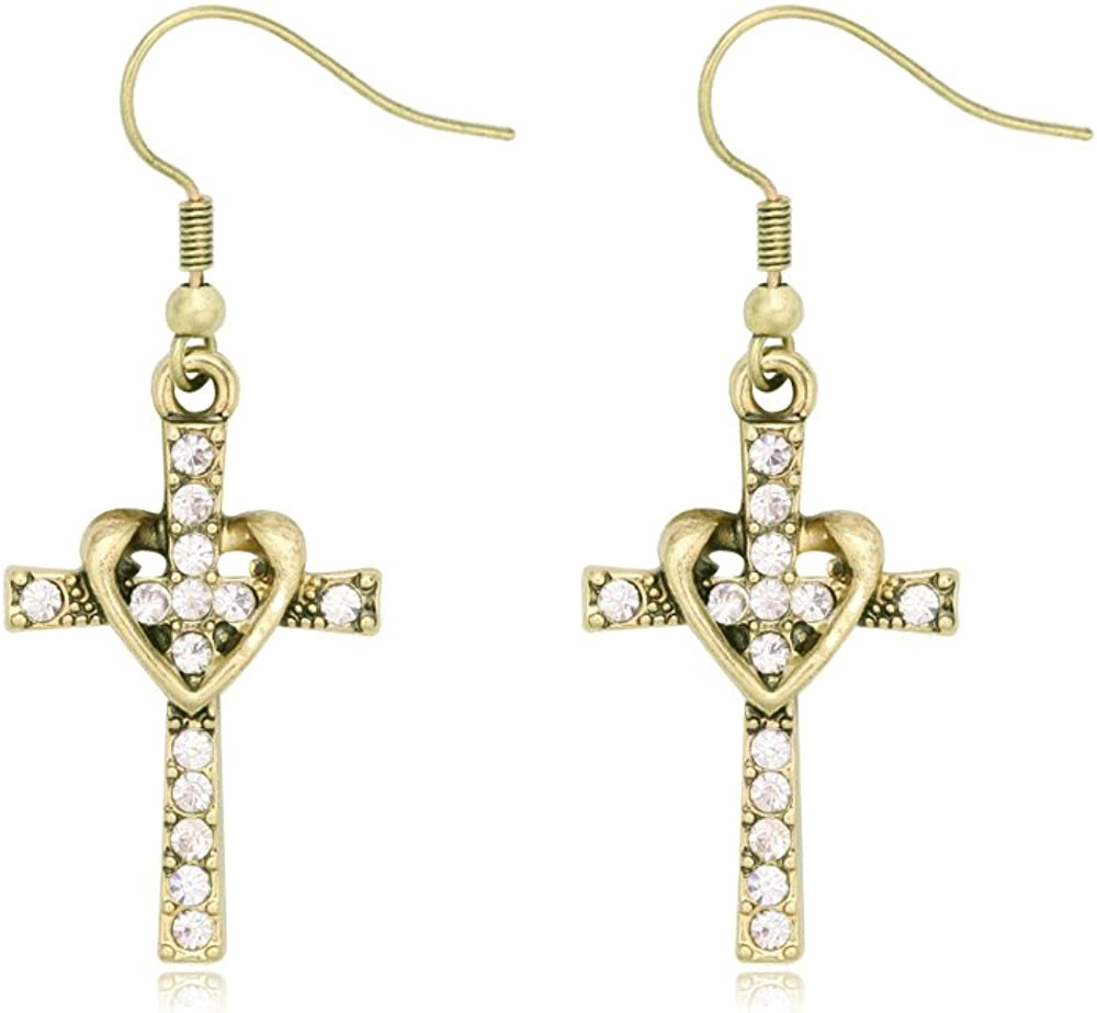 SENFAI Fashion Heart with Crystal Cross Personality Drop Earrings Charm Women Girls
