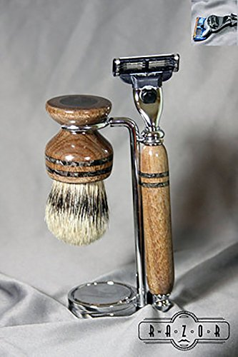 American Walnut Shaving Kit with Best Grade Badger Hair Brush and Black Obsidian Inlay by Wood Razor