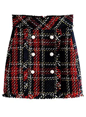 Futurino Women's High Waist Grid Pattern Plaid Slim Bodycon Mini Skirt with Button
