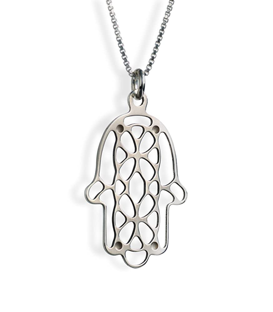 Stained Glass Hamsa Sterling Silver Necklace