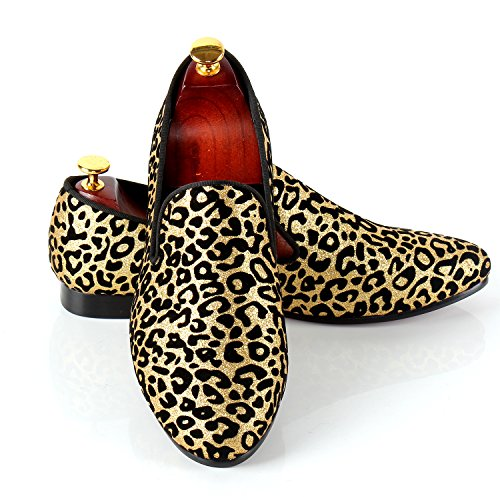 Men Wedding Shoes Leopard Printed Slip-On Dress Loafer (13) by Harpelunde